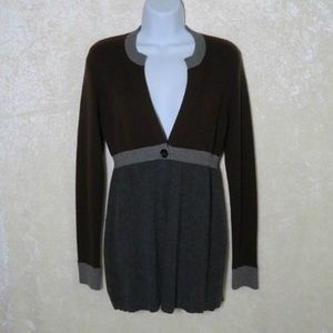 Vince. Cashmere Color Block One Button Cardigan